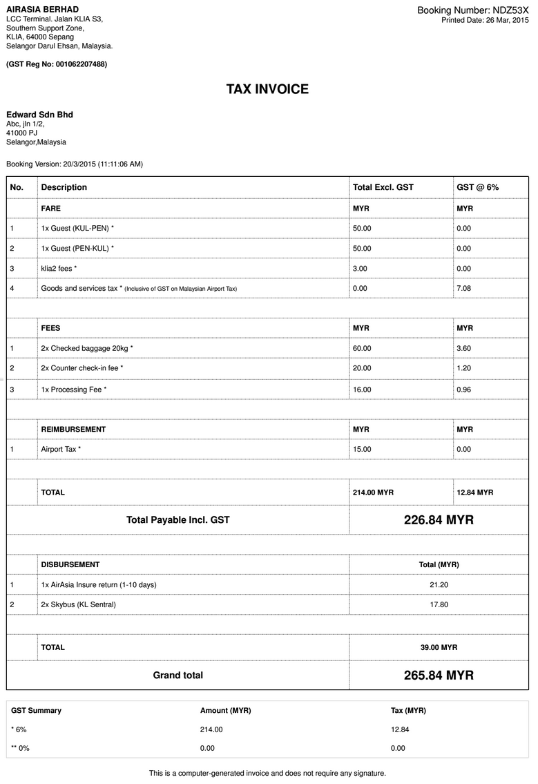 Malaysia Goods And Services Tax GST - Rent invoice format with service tax for service business